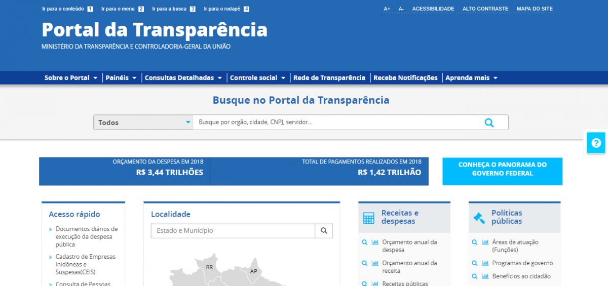 Novo Portal da Transparência do governo federal: mais próximo dos parâmetros de dados abertos
