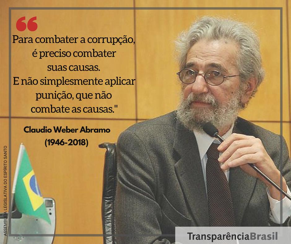 Transparência Brasil lamenta morte de Claudio Weber Abramo